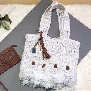 LUCKY BRAND Macrame Boho Bag with Charms